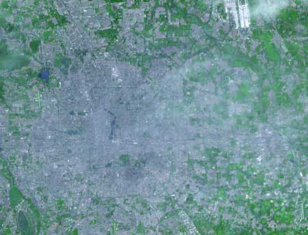 Satellite view of Beijing, one of the world's mega cities. Photo by NASA.