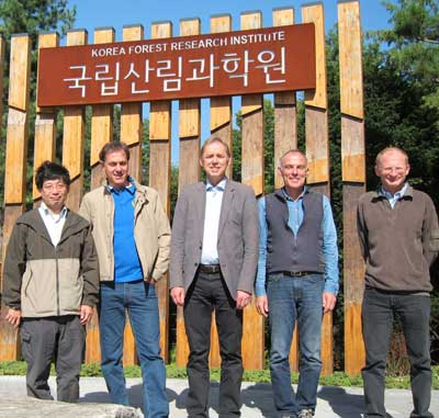 Kurt Riitters (second from right) is pictured with other visiting scientists invited to critique the Korean Forest Health Monitoring program two years after its inception. Photo by U.S. Forest Service