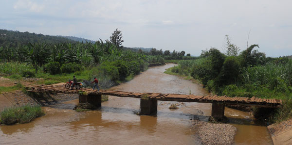 Rivers are full of sediments in rural areas in Rwanda due to soil erosion from farming. Photo by Ge Sun.