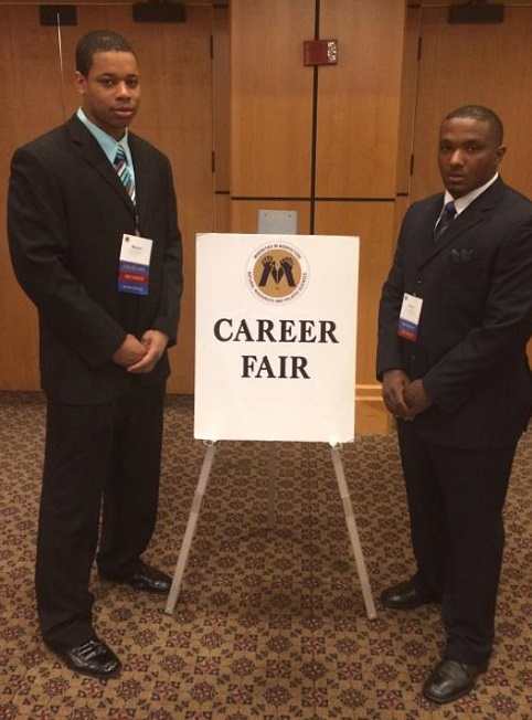 Forest Service employees Strother and Cyprian at the MANRRS Career Fair. Photo by U.S. Forest Service.