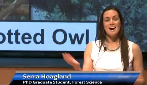 Serra Hoagland explains her research on forest treatments and Mexican spotted owls in a video recorded during NAU's 3 Minute Research Presentation Project contest.