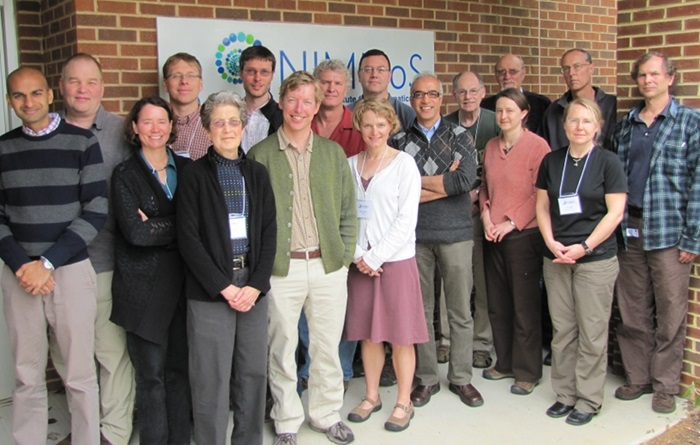 The North American Bat Monitoring Program (NABat) working group was hosted by the National Institute for Mathematical and Biological Synthesis in Knoxville, TN, to design a program for coordinated bat monitoring across North America. Front row: (L to R) Tushar Kansal, Laura Ellison, Susan Loeb, Tom Rodhouse, Kathi Irvine, Subhash Lele, Robin Russell, Cori Lausen. Back Row: (L to R) Tom Ingersoll, John Reichard, Matthew Clement, Tom Stanley, Wayne Thogmartin, Doug Johnson, Tom Hallam , Patrick Field, and John Sauer.