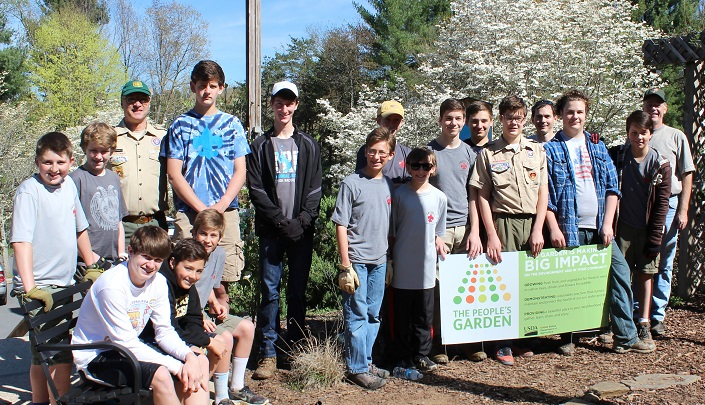 Twenty Boy Scouts spent the morning installing signs and benches, clearing a new seating area, and helping maintain the garden. Photo by Sarah Farmer, U.S. Forest Service.