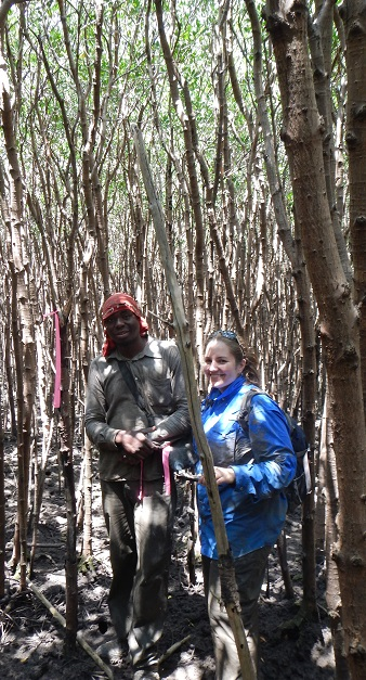 Forest Service researcher Christina Stringer with Artur Titos, who works for a Mozambique organization interested in the carbon monitoring project. Photo by U.S. Forest Service.