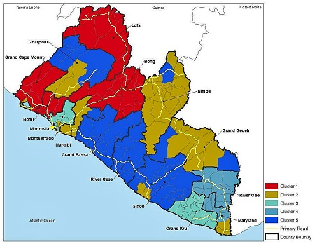 Clusters of social vulnerability in rural Liberia , by district. Social vulnerability of each cluster of districts can be loosely ranked from most to least vulnerable as: Cluster 1, food quality, displaced persons, disabled, dependent populations; Cluster 3, food quantity, food quality, lack of access to land/free medical care; Cluster 4, food quantity, disabled dependent populations and Cluster 5, water quality/proximity to medical care; and finally, Cluster 2, no strong vulnerability scores.