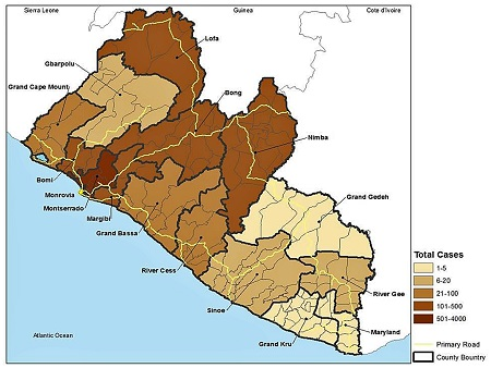 Geographical distribution of Ebola virus disease cases in Liberia, by county. Estimates as of May 10, 2015.