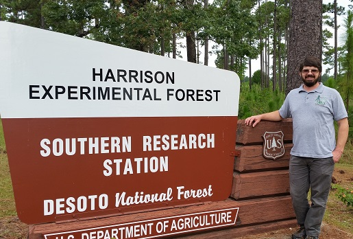Chuck Burdine at the Harrison Experimental Forest. Photo by U.S. Forest Service.