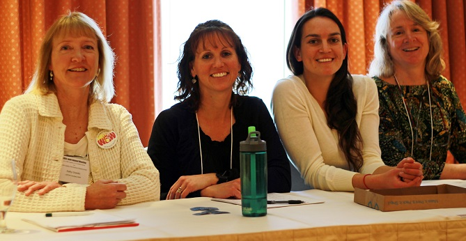 Kathy Granillo, Kay Nicholson, Serra Hoagland, and Carol Chambers (left to right) participated in the WoW panel discussion on February 6th. Photo by Ehren Keltz, Northern Arizona University.
