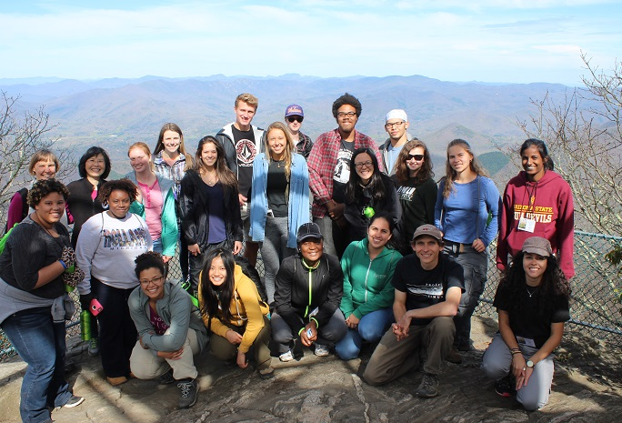 2016 SEEDS leadership students at Albert Mountain Fire Tower at the Coweeta Hydrologic Laboratory in Otto, North Carolina. Photo by Fred Abbott, ESA.