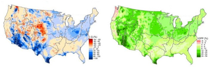 Maps generated from the modeling results show percent differences in future watershed water yield and ecosystem productivity as compared to the baseline study period. The red colors represent decreases, and the blue and green colors, respectively, represent increases in water yield and productivity.