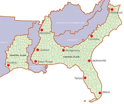 The Southern Coastal Plain spans 188 million acres from Texas to Virginia. U.S. Forest Service.