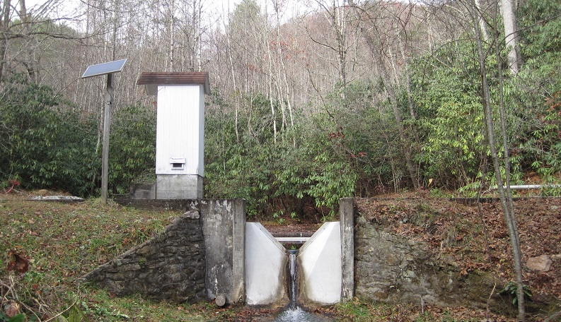 At the Coweeta Hydrological Laboratory, 16 operational weirs measure streamflow. Streams in watershed 7 have elevated nitrogen concentration from a clearcut almost 40 years ago. Photo by U.S. Forest Service.