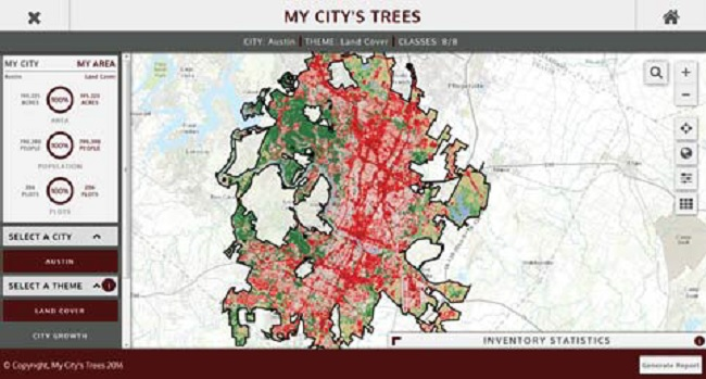 FIA data from the forest inventory assessment of Austin, Texas, shown on My City's Trees.