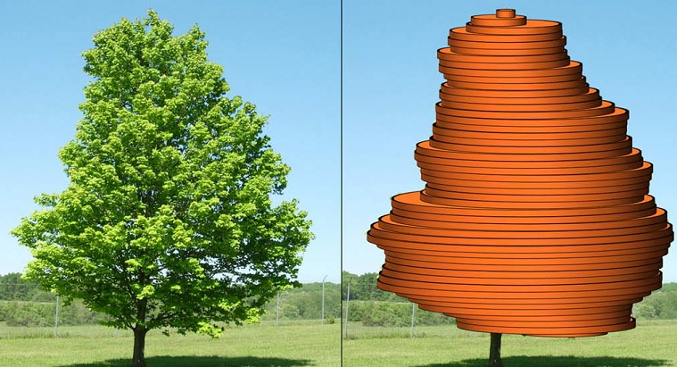 Illustration showing how UrbanCrowns determines crown volume using a single view of the tree. Illustration by U.S. Forest Service.