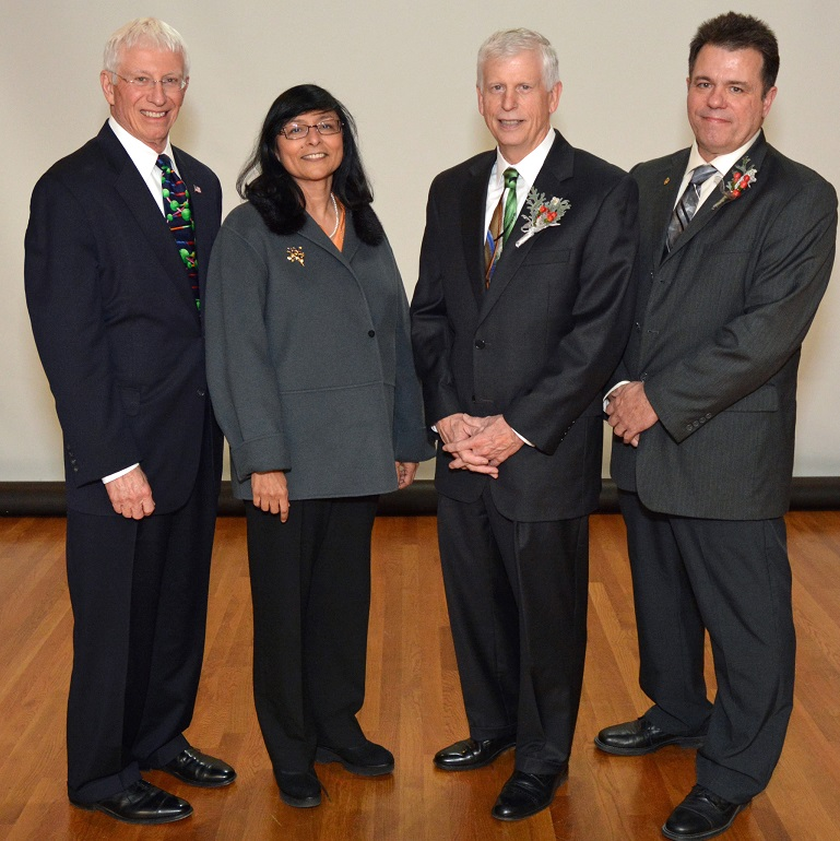 At the award ceremony in Washington, DC, from left to right, Forest Service SRS Station Director Rob Doudrick, Director of Sustainable Forest Management Research Toral Patel-Weynand, Chief Thomas Tidwell, and Project Leader Jim Vose.
