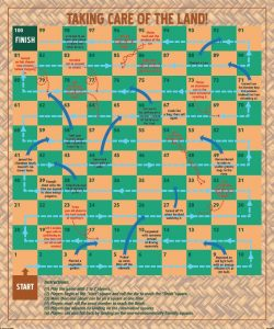 One of the activities is a snakes and ladders style board game. Players advance faster by landing on squares that have environmentally friendly messages.