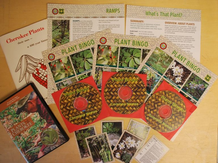 What's That Plant? materials include information sheets, plant identification cards, and bingo games. Photo by Julia Kirschman, USFS.