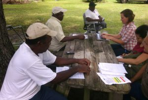 Interviews were conducted with forest landowner families at or near their property. Photo by Eleanor Cooper Brown.