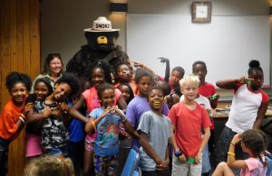 Smokey Bear with kids
