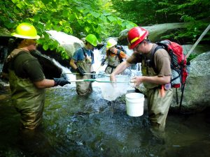 SRS Center for Aquatic Technology Transfer (CATT) team samples brook trout populations along the Staunton River in Virginia. Photo by Craig Roghair, USFS.