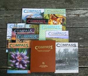 rows of Compass magazines arranged on a table