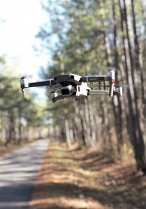 an unmanned aerial system (drone) in the Santee Experimental Forest