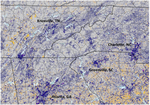 map of vegetation change in four southern states