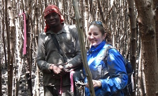 Forest Service researcher Christina Stringer with Artur Titos, who works for a Mozambique organization collaborating on the carbon monitoring project. Photo by U.S. Forest Service.