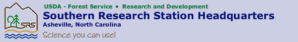 Main Logo of Southern Research Station, Stating: Southern Research Station - Asheville, NC, with a saying of 'Science you can use!'