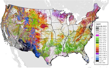 forwarn maps shows the median greenup dates for natural vegetation agricultural lands and urban areas chicago ill are shown to help land managers