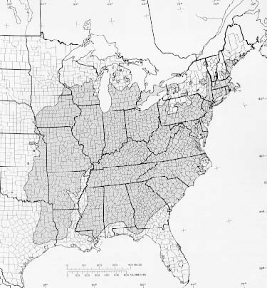 {Native range of Quercus velutina}