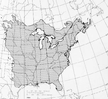 {The native range of Ulmus americana}