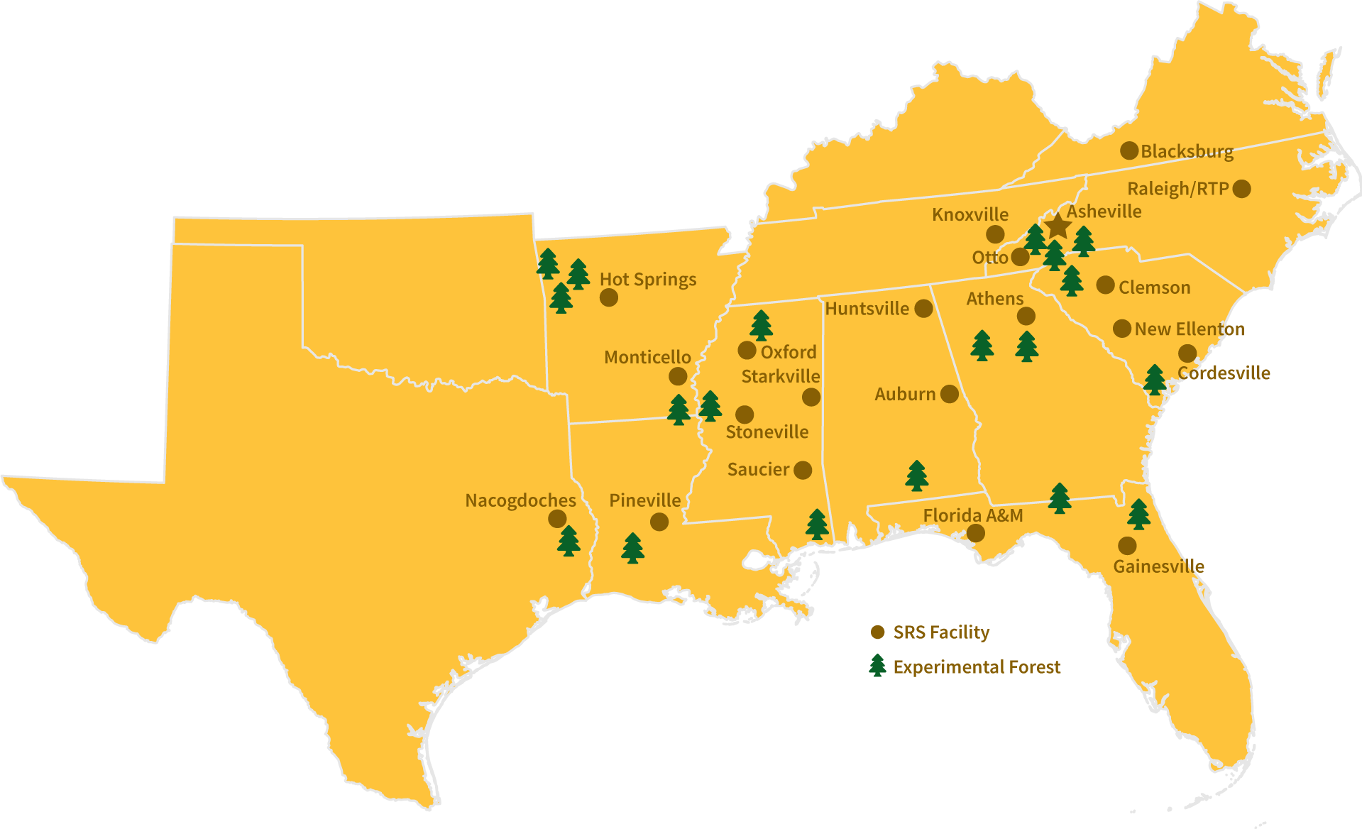 Map of the Southern United States showing Southern Research Station research unit and experimental forest locations