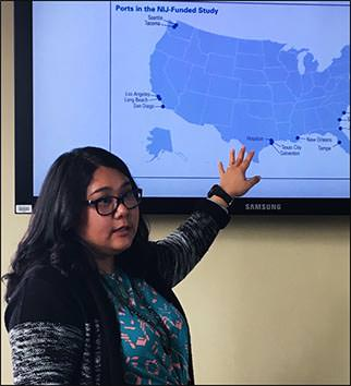 "Lucardi explains one of her research projects to an audience at Mississippi State University during Darwin Week 2017. She was an invited keynote and the week's program focused on ""Celebrating Diversity in Science"" Photo by DC Outlaw, Mississippi State University"