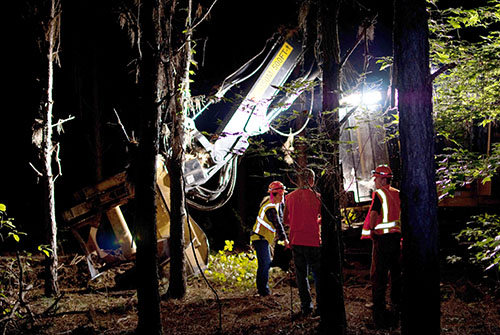 Logging equipment in a forest at night